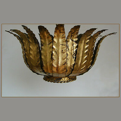 VINTAGE 60s GILT TOLE LEAVES FLUSH MOUNT HOLLYWOOD REGENCY CEILING LIGHT FIXTURE