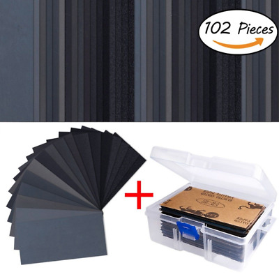 102 Pieces Sandpaper Assorted Wet/ Dry 60 to 3000 Grit Sandpaper Assortment 3...