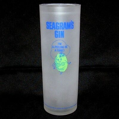 Seagrams Gin Glass Tall Satin Collins Lime I'm A-Peeling In Tonic Cocktail Bar