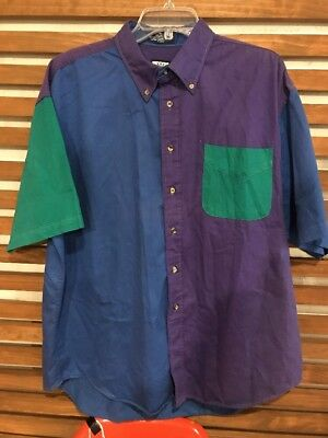 Vintage Mareh Mens Shirt Extra Large Short Sleeve Button Up 80s/90 Retro Multi