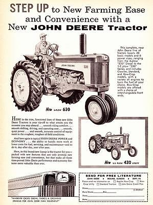 Vintage ad 1959 John Deere 4 plow Model 630 and 430 Farm Tractors