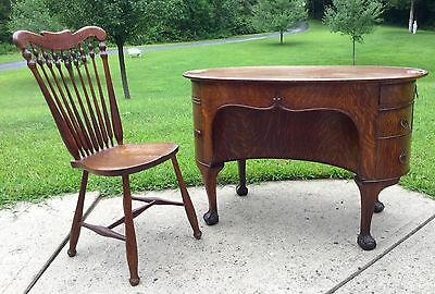 Art Nouveau Oak Desk And Chair, Paine Furniture Co.