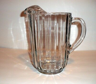 VINTAGE HEAVY CLEAR GLASS BEER or WATER PITCHER RESTAURANT DUTY 8''