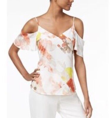 f27581a93976c New CALVIN KLEIN  79 Women s White Floral Cold Shoulder Blouse top Small S  NWT