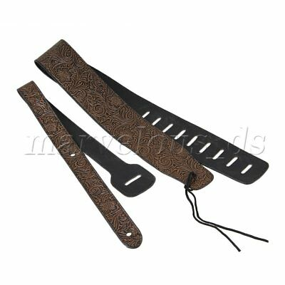 Brown Adjustable Soft PU Leather Guitar Strap For Electric Acoustic Bass Guitar