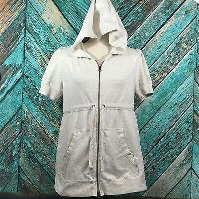 Old Navy Maternity Womens Hoodie Medium Cotton Stretch Solid Oatmeal Zipper