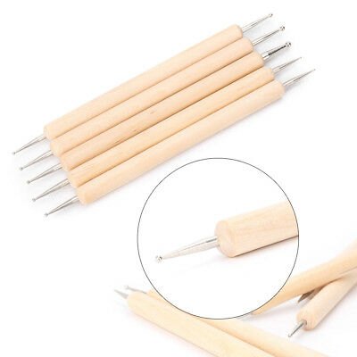 5PCS DIY Leather PMC Craft Modelling Splicing Embossing Spoon & Carving Tool Kit