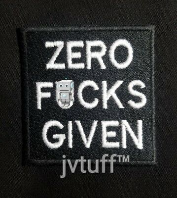 Funny ZERO F*CKS GIVEN Embroidered Patch Biker Motorcycle Vest Iron On / Sew On