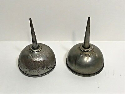 "Lot of 2 Vintage Singer Mini Thumb Oilers / Oil Cans / Oil Pumps  2 3/4"" tall"