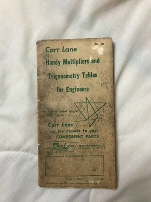 Vintage 1962 Carr Lane Book Handy Multipliers & Trigonometry Table for Engineers