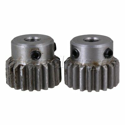2pcs 20 Teeth Motor Metal Steel 1 Module Top Screws Gear Wheel 6mm Hole