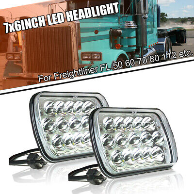 Pair LED Headlight 4500LM High Low Beam Fit For Freightliner FL 50 60 70 80 112