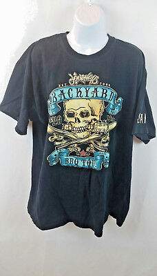 Lucky 13 2010 JOURNEY BACKYARD BBQ Concert Tour T Shirt Black Skull Size XL