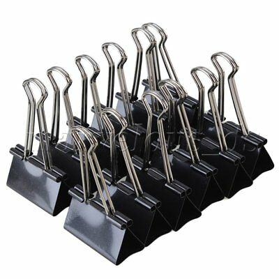 12 Pcs Office Files Documents Metal Black Binder Clips 25mm Width A1W4