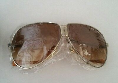 Rare Vintage Ferrari Aviator Sunglasses Fold Up New Unworn Light Gold 1980s