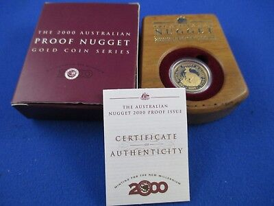 2000 $25 AUSTRALIAN NUGGET 1/4oz GOLD PROOF ISSUE COIN. A BEAUTY!!!
