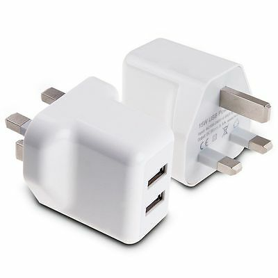 15W 5V 3A AMP FAST Dual Twin 2 Port USB Charger UK Mains Wall Plug Adapter 3 Pin