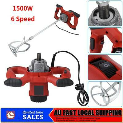 Red Handheld 6-speed 1500W Electric Mixer for Stirring Mortar Paint Cement Grout