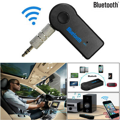 Wireless Bluetooth 3.5mm AUX Audio Music Car Receiver Adapter Mic Black