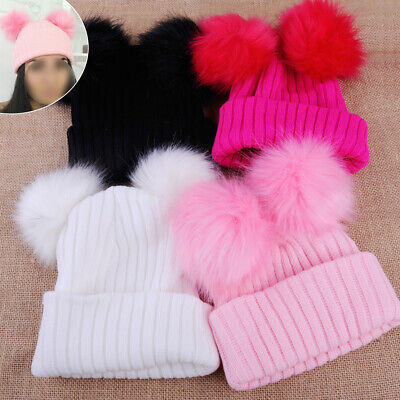 Women Girl Winter Thick Knitted Wool Hat with Two Fur Pompoms Ball Beanie Cap