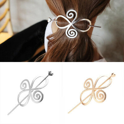 Women Celtic Knot Hairpin Crystal Alloy Beauty Hair Clip Barrette Bun Holder