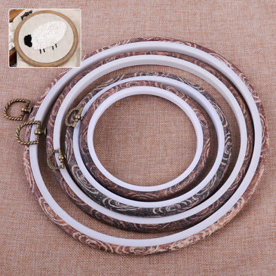 Imitation Wood Embroidery Cross Stitch Round Ring Hoop Frame Hand Sewing Tool