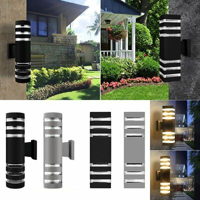 Modern Up Down LED Wall Light Fixture Dual Head Lamp Torch Outdoor Waterproof