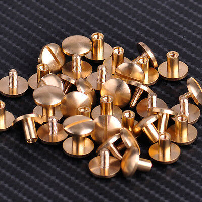 20 x Leather Craft Belt Solid Brass Nail Rivets Screw Round Head Stud Bag Wallet