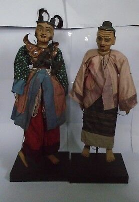 Vintage Pair Indonesian Wooden Male & Female String Puppets On Stands
