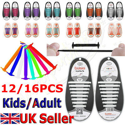 18pc No Tie Shoelaces Elastic Silicon Shoe Laces For Running Sneakers Black