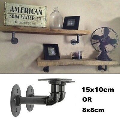 2Pc  Industrial Black Iron Pipe Shelf Bracket Wall Mounted Floating Shelf Honder