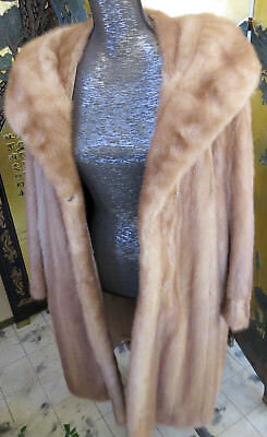 "Magnificent Vintage 41"" Long Mink Ladies Coat Wide Shaw Collar Size M Mint."
