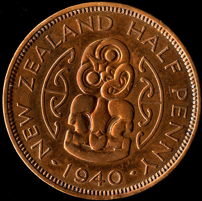 New Zealand 1940 Half Penny King George VI - Red BU - 1st Year Issue