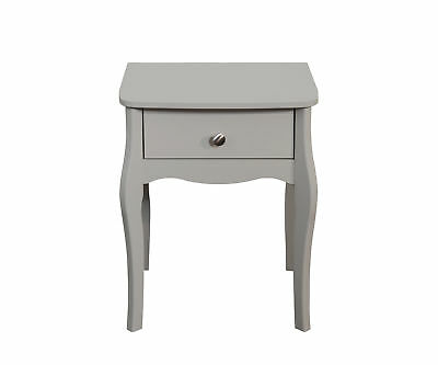 Baroque 1 Drawer Bedside Cabinet Table in Grey Provence Bedroom Furniture Range
