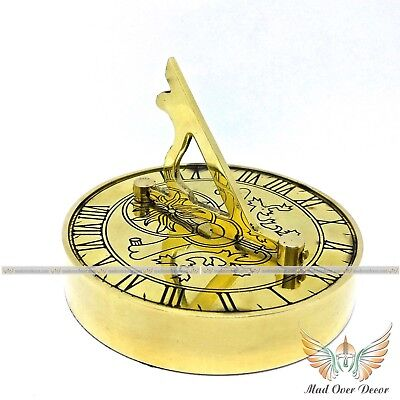 Nautical Vintage Collectible Solid Brass Marine Paper Weight Sundial Compass