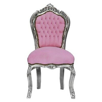 Baby Pink Rhinestone Incrusted Baroque Dining Room Chair Silver Solid Wood Frame