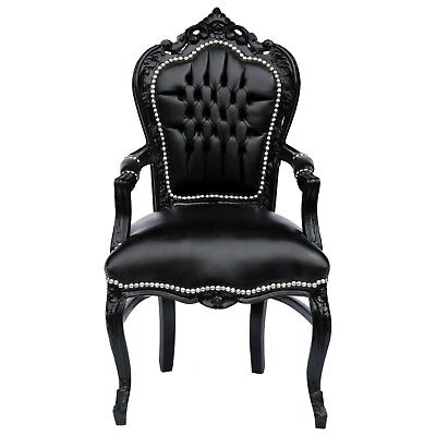 Elegant Black Baroque Dining Room Chair Leatherette Cushions Solid Wood Frame