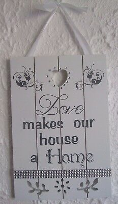 Wooden Wall Plaque Shabby Chic White Love makes our house a Home Diamante 8 x 12