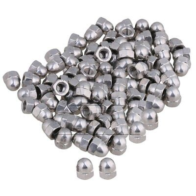 Silver 304 Stainless Steel M8 Acorn Cap Hex Nuts Right Hand Threads Set of 100