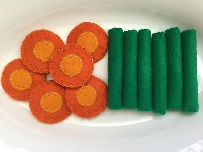 Toy Pretend Play Food - Handmade Felt Vegetables Beans & Carrots - Play Kitchen