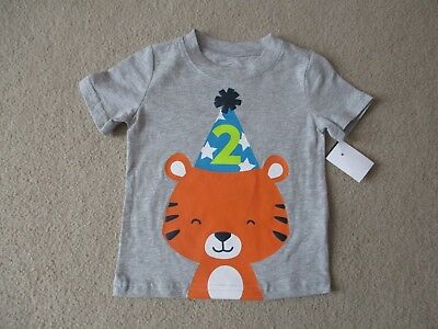 NEW Boys 2T Birthday Tee Shirt 2 Years Old Happy Party Hat Carters