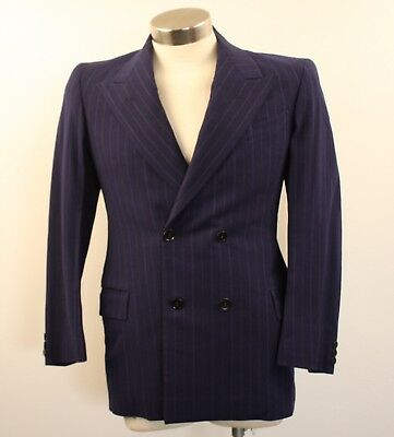 SMALL ORIGNAL VINTAGE  MENS 1940s BLUE DOUBLE BREASTED WOOL JACKET.