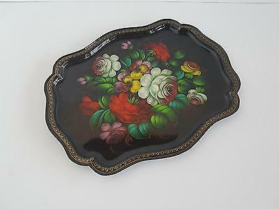 Serving in the Biedermeier Style Metal Hand Painted Signed Probably Moba