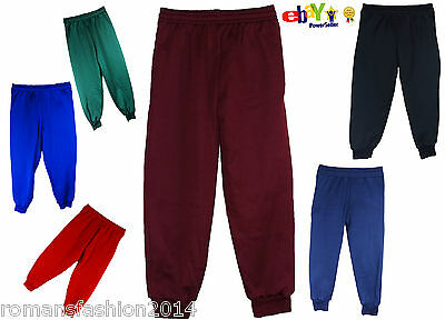 Kids Boys Girls School Jogging Bottoms PE Fleece Trousers 2-20 years Childrens u
