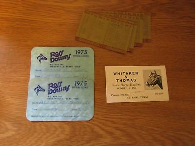 Vintage Horse racing items. Ross Downs Texas. 1975. Sunland Park bet stubs 1968