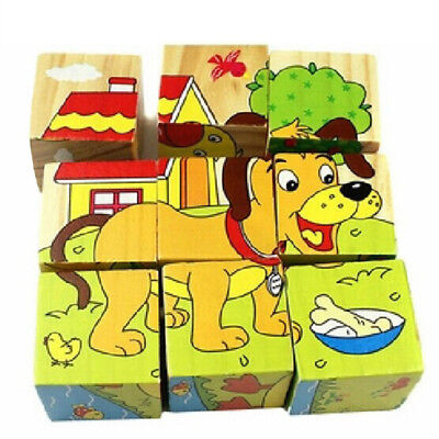 3D Wooden Cartoon Puppy Dog Animals Car Puzzle Blocks Kids Baby Educational Toy