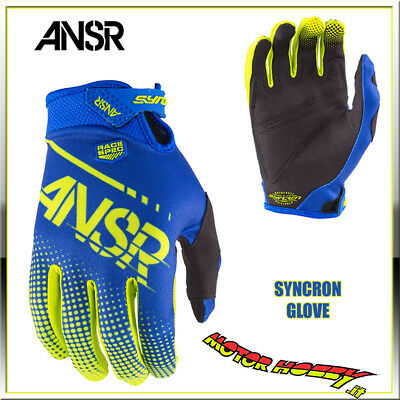 Guanto Cross Enduro Answer Syncron Glove Blu Giallo Fluo Taglia M