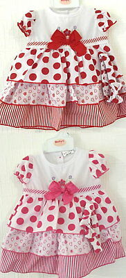 Lovely Baby Girl Dress Clothes Set headband trousers spotted Cerise 3-6M SALE
