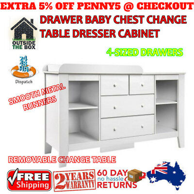 Baby Change Table Chest Dresser Cabinet Changer Nursery 4 DRAWER WHITE Babies