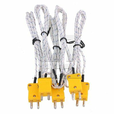 1 Meter Thermocouple K Type Cable Probe Sensors with Mini Adapter Set of 5